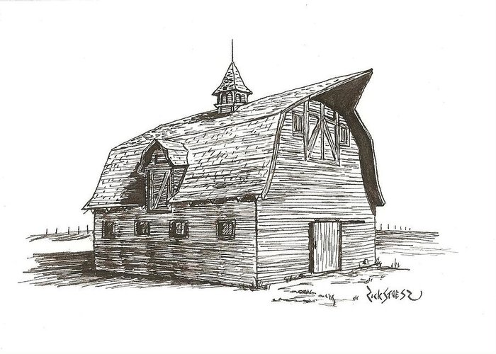 Barn Greeting Card featuring the drawing Prairie Barn by Rick Stoesz