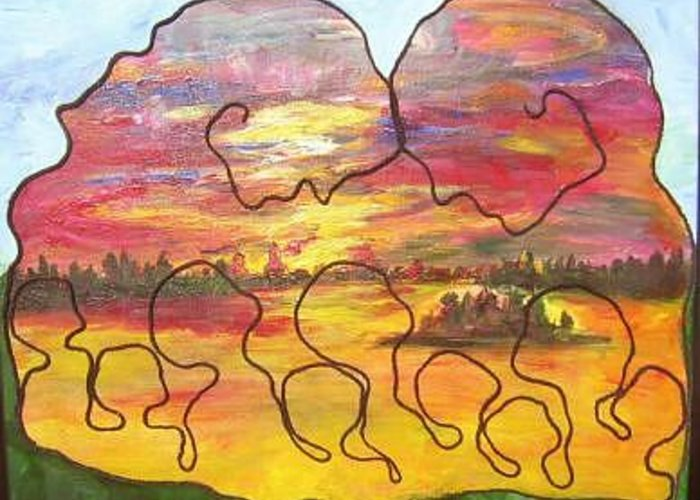 Community Collaged With Yarn On Painting Of Prairies On Canvas Greeting Card featuring the painting Prairie Health by Naomi Gerrard