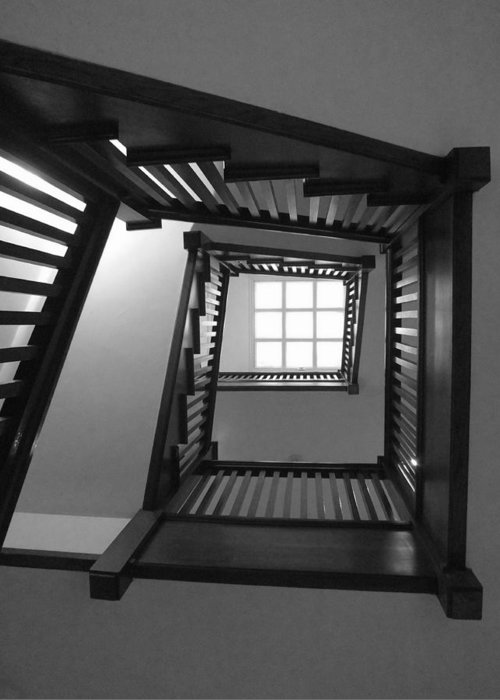 Chicago Greeting Card featuring the photograph Prairie House Stairs by Anna Villarreal Garbis