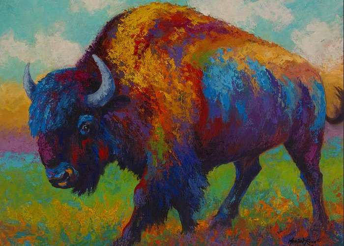 Bison Greeting Card featuring the painting Prairie Muse - Bison by Marion Rose