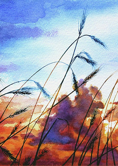 Prairie Sky Painting Greeting Card featuring the painting Prairie Sky by Hanne Lore Koehler