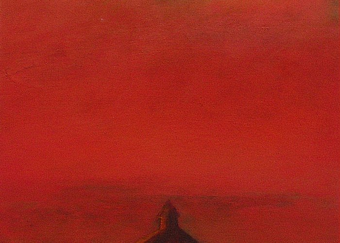 Landscape Greeting Card featuring the painting Prairie Sunset II by Ruth Sharton
