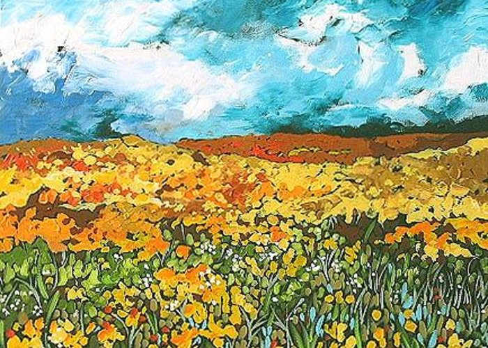 Original Greeting Card featuring the painting Prairie Vista by Linda Monfort