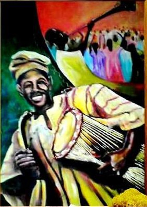 Blowing Trumpet Greeting Card featuring the painting Praise by Wale Adeoye