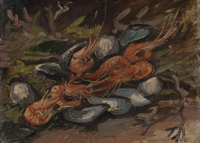 Art Greeting Card featuring the painting Prawns And Mussels Paris, September - November 1886 Vincent Van Gogh 1853 1890 by Artistic Panda
