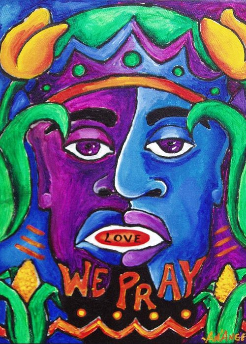 Colorful Greeting Card featuring the mixed media Pray by AnAngelia Thompson