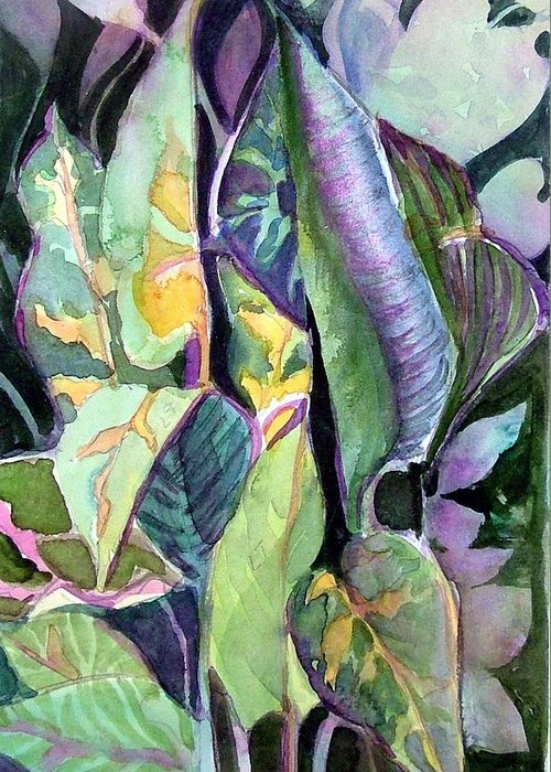 Watercolor Greeting Card featuring the painting Pray Plant by Mindy Newman