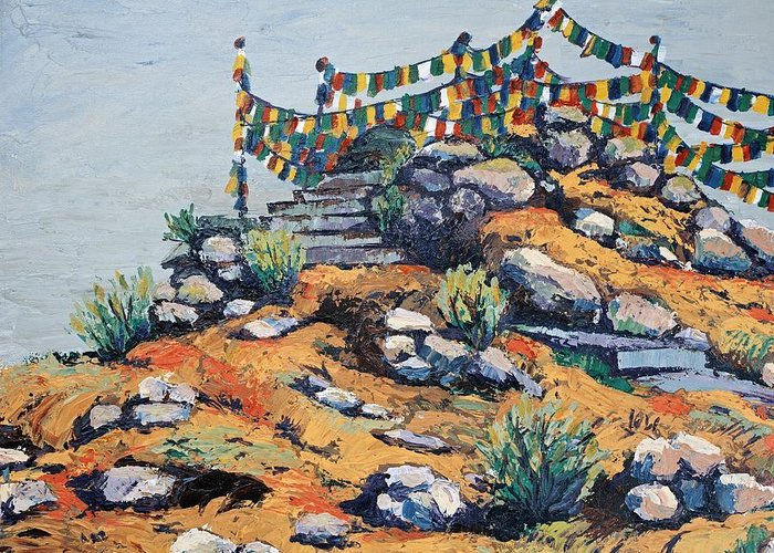 Buddhist Greeting Card featuring the painting Prayer Flags In The Mist by Art Nomad Sandra Hansen