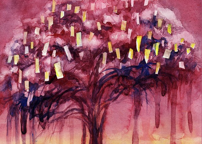 Tree Greeting Card featuring the painting Prayer Tree II by Janet Chui