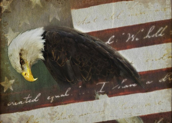 Eagle Greeting Card featuring the photograph Praying For Our Country by Kathy Jennings