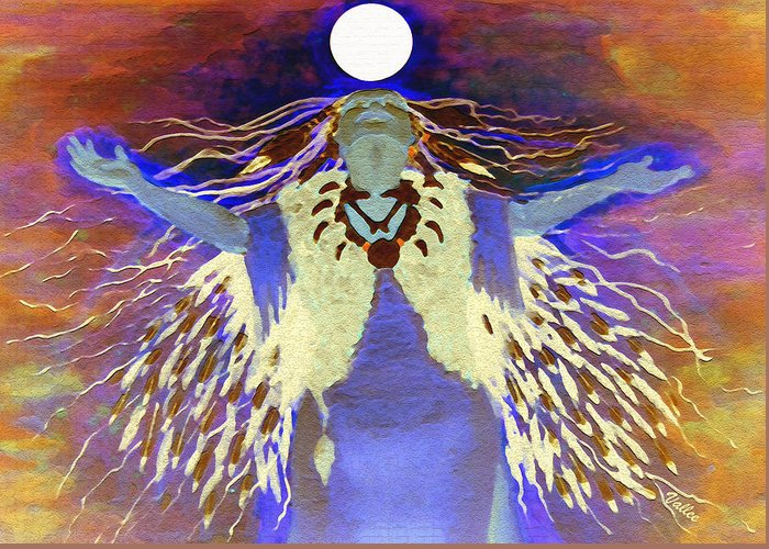 Spiritual Greeting Card featuring the digital art Praying Goodnight To The Moon by Vallee Johnson