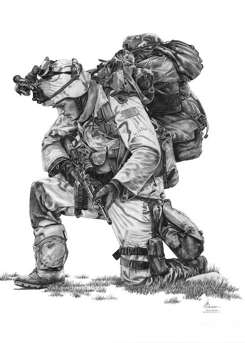 Pencil Greeting Card featuring the drawing Praying Soldier by Murphy Elliott