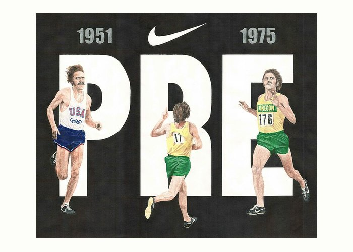 Steve Prefontaine Greeting Card featuring the drawing PRE by Chris Brown