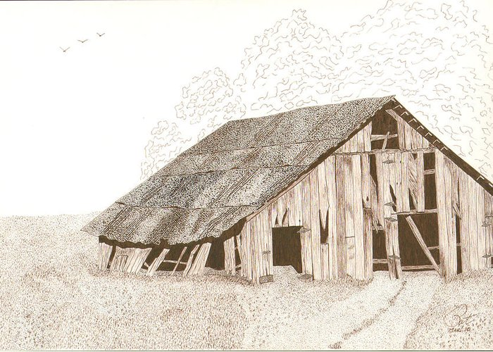 Pen And Ink Greeting Card featuring the drawing Pre-collapse by Pat Price