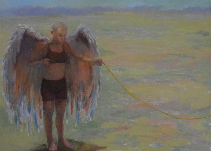 Narrative Greeting Card featuring the painting Pre-flight Check by Barbara Harrison