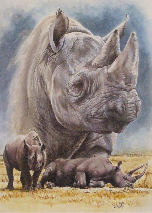Wildlife Greeting Card featuring the mixed media Precarious by Barbara Keith