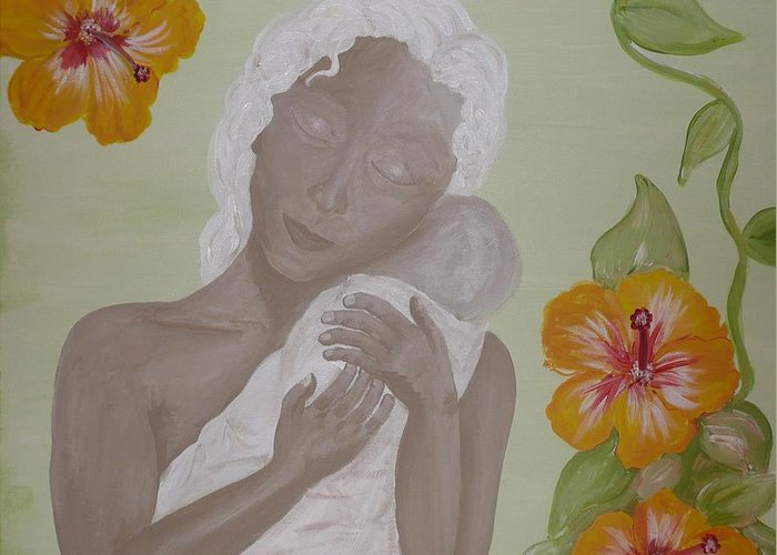 Mother Greeting Card featuring the painting Precious Time by Jennifer Hernandez