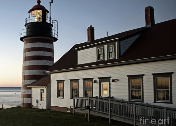 Lighthouse Greeting Card featuring the photograph Predawn Beauty by Catherine Melvin