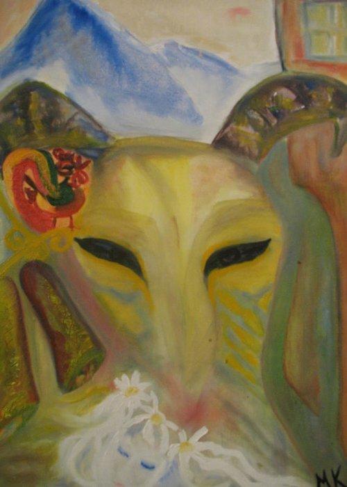Maria Kolucheva Greeting Card featuring the painting Premonition by Maria Kolucheva