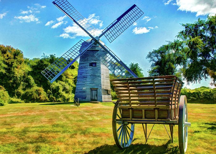 New England Greeting Card featuring the photograph Prescott Farm Windmill by Dave Thompsen