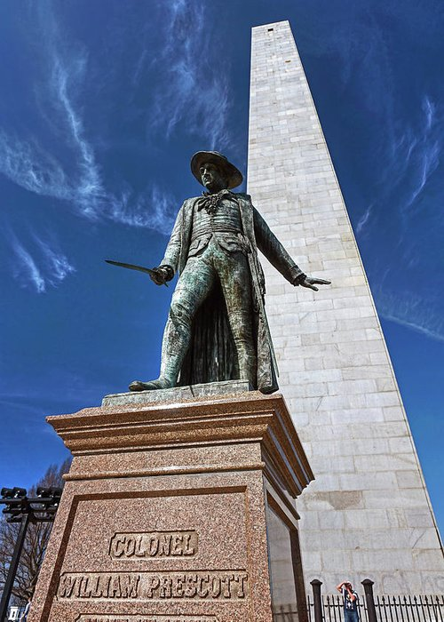 Revolutionary War Patriot Battle Of Bunker Hill Greeting Card featuring the photograph Prescott Statue On Bunker Hill by Wayne Marshall Chase