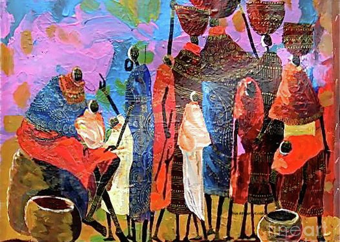 Maasai Elders Blessing A Baby Greeting Card featuring the painting Presents For The New Born by Martin Bulinya