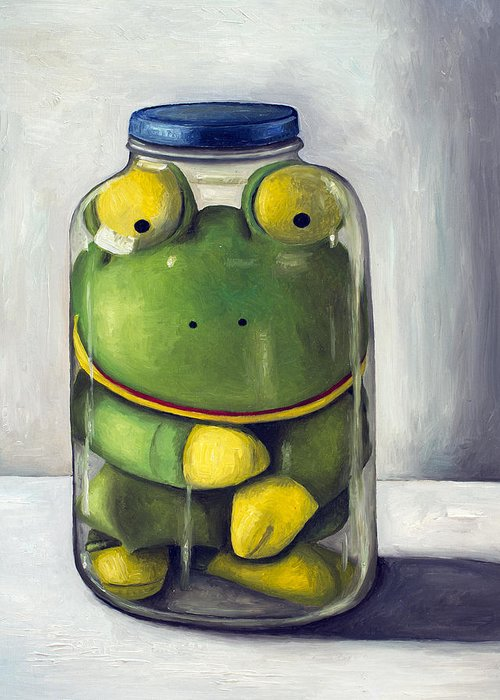 Frog Greeting Card featuring the painting Preserving Childhood Upclose by Leah Saulnier The Painting Maniac