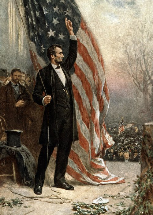 abraham Lincoln Greeting Card featuring the photograph President Abraham Lincoln - American Flag by International Images