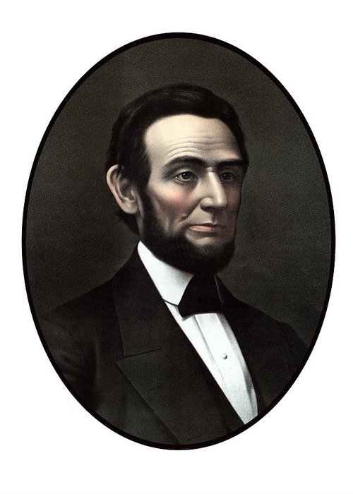 Abraham Lincoln Greeting Card featuring the painting President Abraham Lincoln by War Is Hell Store