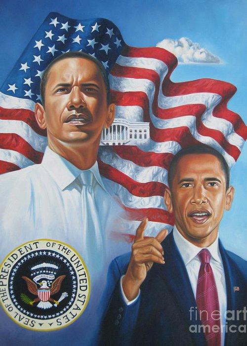 Portrait Greeting Card featuring the painting President Barack Obama by Arnold Hurley