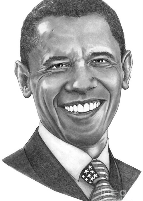 Drawing Greeting Card featuring the drawing President Barack Obama By Murphy Art. Elliott by Murphy Elliott