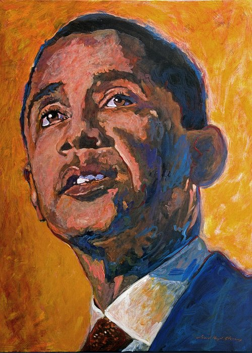 Barack Obama Painting Greeting Card featuring the painting President Barack Obama by David Lloyd Glover