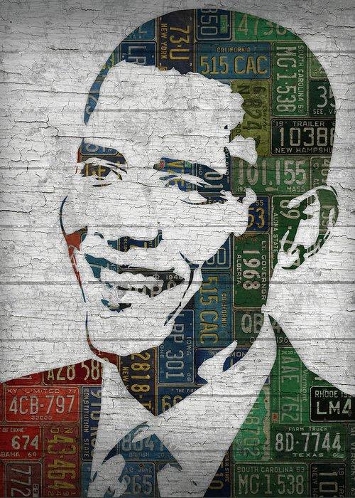 Obama Portrait Mixed Media Greeting Cards