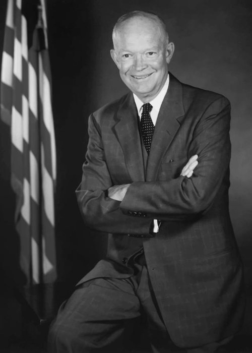 Eisenhower Greeting Card featuring the painting President Eisenhower And The U.s. Flag by War Is Hell Store