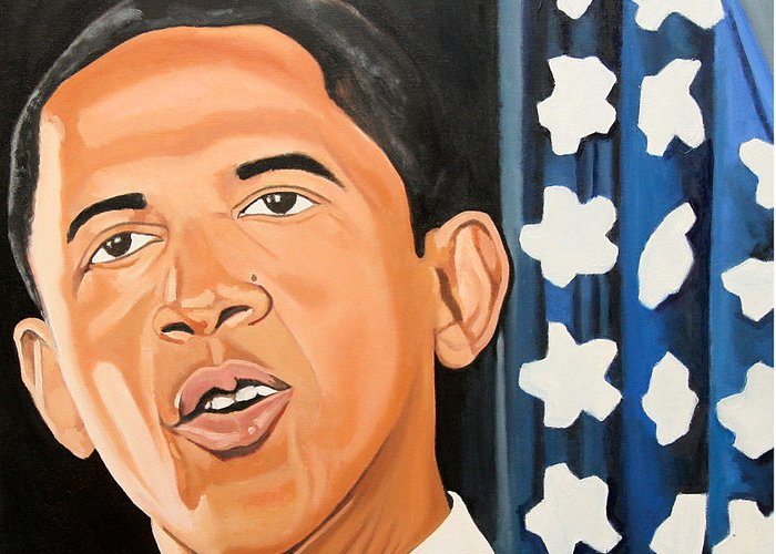 Obama Paintings Greeting Card featuring the painting President Elect Obama by Patrick Hunt