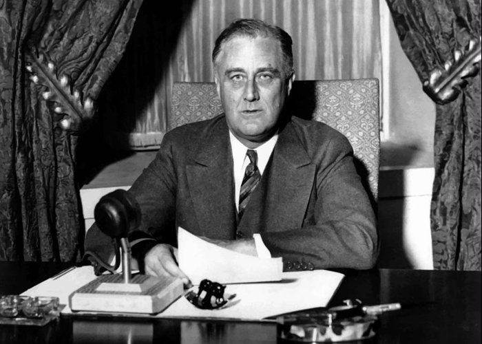 Franklin Roosevelt Greeting Card featuring the photograph President Franklin Roosevelt by War Is Hell Store