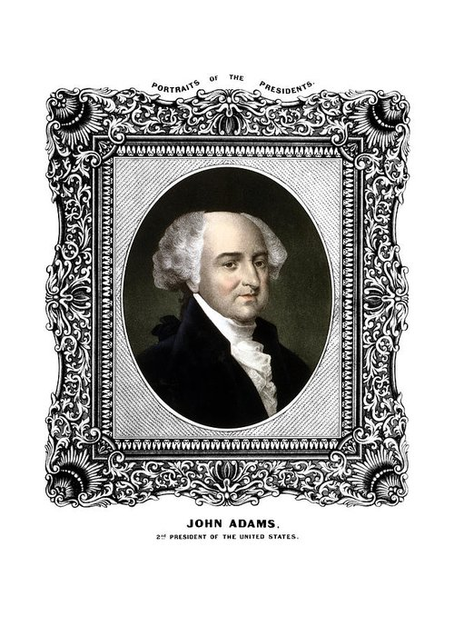 John Adams Greeting Card featuring the painting President John Adams Portrait by War Is Hell Store