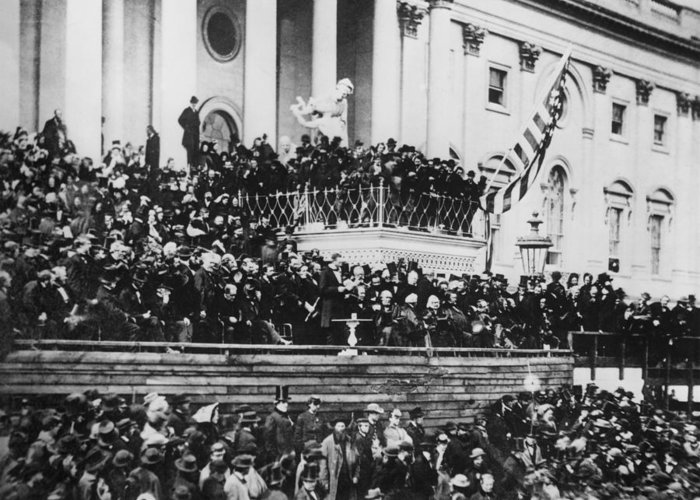 abraham Lincoln Greeting Card featuring the photograph President Lincoln Gives His Second Inaugural Address - March 4 1865 by International Images