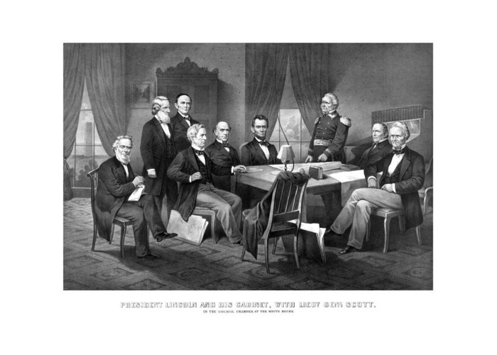 Abraham Lincoln Greeting Card featuring the mixed media President Lincoln His Cabinet And General Scott by War Is Hell Store