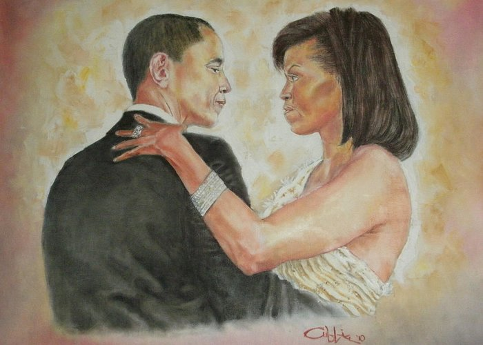 44th President Greeting Card featuring the painting President Obama And First Lady by G Cuffia