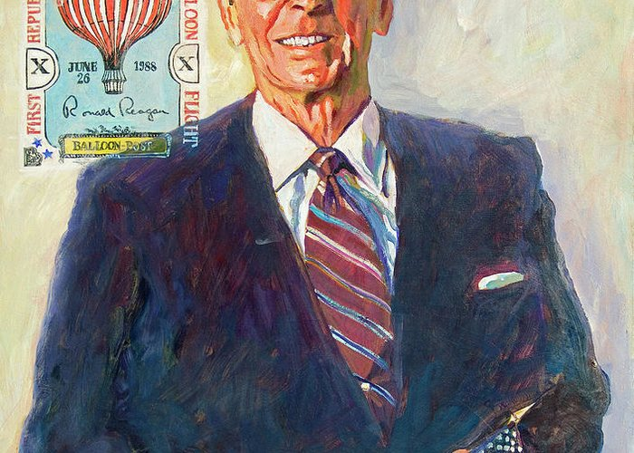 Presidents Greeting Card featuring the painting President Reagan Balloon Stamp by David Lloyd Glover