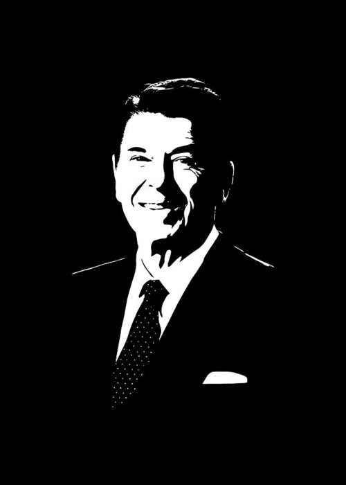 Ronald Reagan Greeting Card featuring the digital art President Ronald Reagan by War Is Hell Store