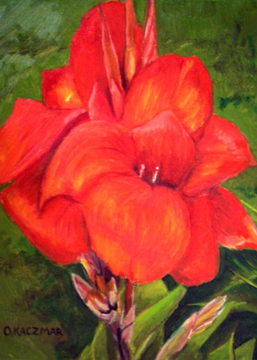 Flowers Greeting Card featuring the painting Presidential Canna by Olga Kaczmar