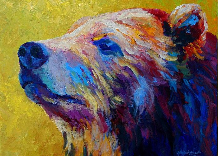 Bear Greeting Card featuring the painting Pretty Boy - Grizzly Bear by Marion Rose