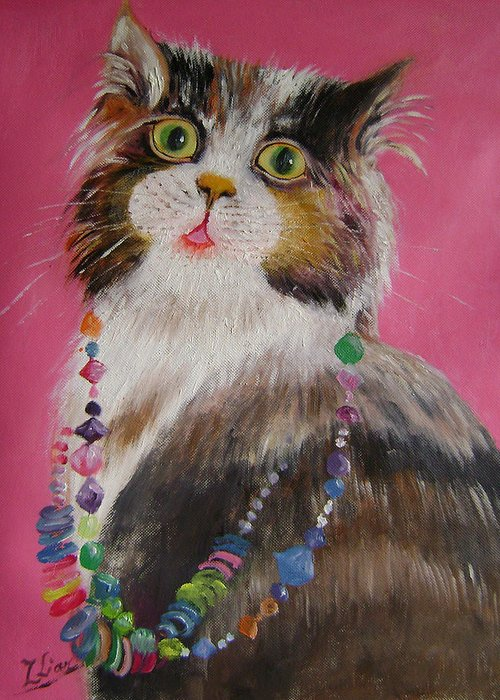 Cats Greeting Card featuring the painting Pretty Cat by Lian Zhen