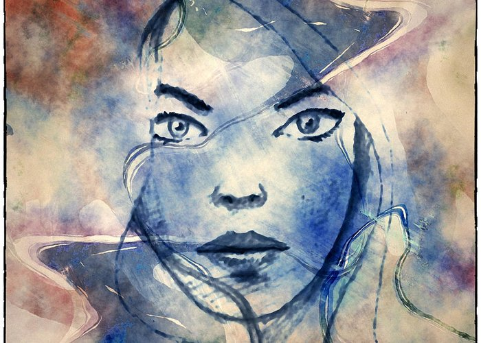 Watercolor Greeting Card featuring the mixed media Pretty Face by Joao Fe