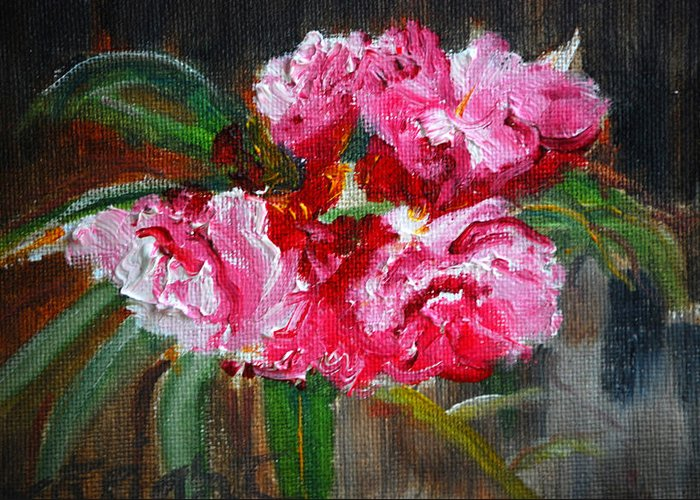 Pink Greeting Card featuring the painting Pretty In Pink by Diane Fiore
