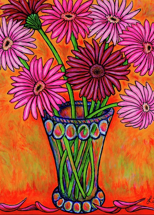 Gerber Greeting Card featuring the painting Pretty in Pink Gerbers by Lisa Lorenz