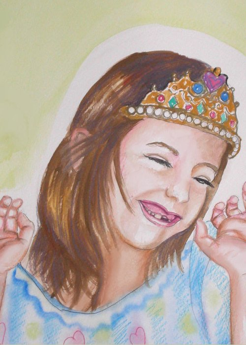 Princess Greeting Card featuring the painting Pretty Princess by Anne Cameron Cutri