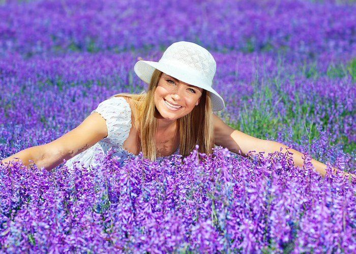 Background Greeting Card featuring the photograph Pretty Woman On Lavender Field by Anna Om